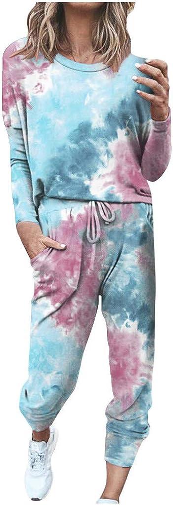 Womens Pajama Sets,Women Sweatsuit Long Sleeve Pullover Sweatpants 2 Pcs Lounge Jogger Set Sleepwear PJ Set