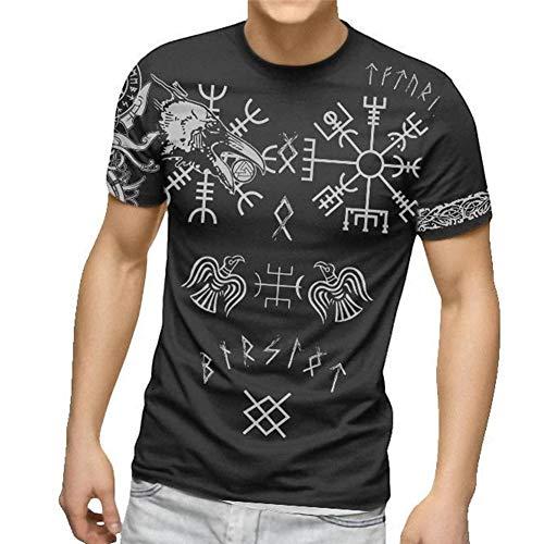 Camiseta de Amuleto Vikingo, Impresin en 3D para Hombres Runas Mitolgicas Nrdicas Odin Crow Hugin y Munin Totem Tattoo Vegvisir Tops Regalos Paganos Manga Corta Verano,Gris,4XL