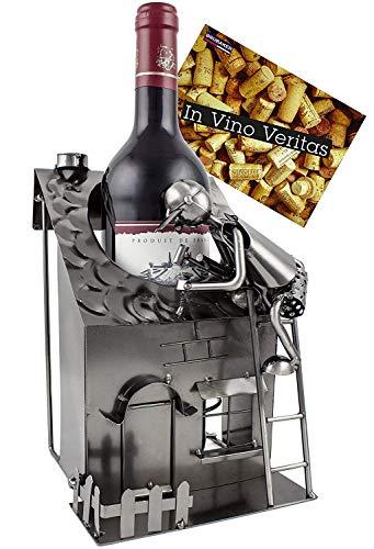 BRUBAKER Wein Geschenkset - Flaschenhalter Haus mit Dachdecker inkl. Einem Wein Ihrer Wahl mit Geschenkkarte