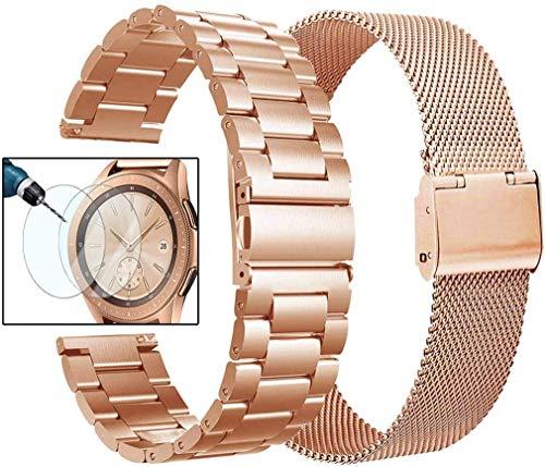 VIGOSS Kompatibel with Galaxy Watch 42mm Armband Active 2 40mm 44mm Armband Metall Mailänder Edelstahl Armband Uhrenarmband (Metall + Mesh Rosegold)