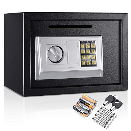 Happygrill Electronic Digital Security Keypad Lock Box, Security Lock Box Cabinet for Jewelry Cash Money