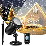 Snow Projector Lights, FITAGS Xmas Snowflake Night Projector Waterproof Outdoor LED Snow Spotlight for Halloween Holiday Party Home Decoration Garden Light Projector with Remote Control
