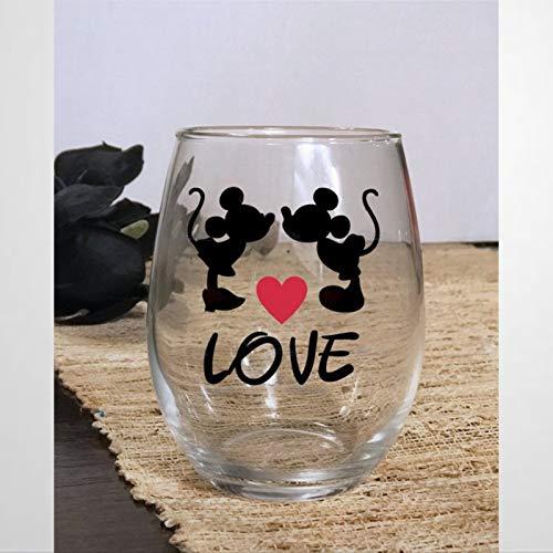 Copa de vino sin tallos de Mickey Minnie Love, vaso de chupito de whisky grabado, perfecto para padre, mamá, niño o novia, amiga