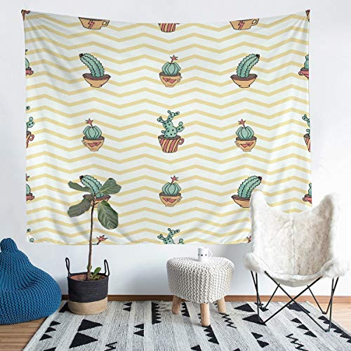Tapizde cactusy Bohemio, suculentacolgar en la Pared,botánico, Manta de Pared a Rayas,de habitación,Natural exótica, Manta de Cama Extragrande, 152 x 222 cm