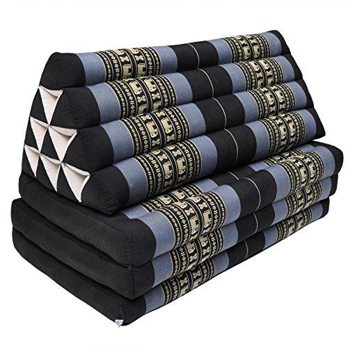 Colchón Thai XXL 3pliegues con cojín respaldo triángulo, sofá, ocio, colchón, Kapok, playa, piscina, fabricado en thailande, Negro/Púrpura Con elefantes (81318)