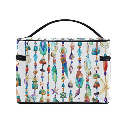 RELEESSS Bolsa de maquillaje de viaje con acuarela, diseño boho, plumas, bolsa de cosméticos, bolsa de aseo grande para mujeres y niñas