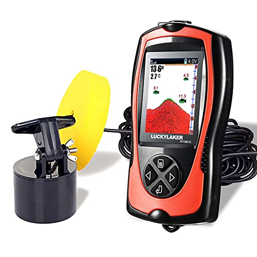 LUCKYLAKER Portable Display Fish Finder Boat Handheld Transducer Fish Finders Kayak Water Sensor Depth Finder LCD Wired Cable Ice Sea Fishing