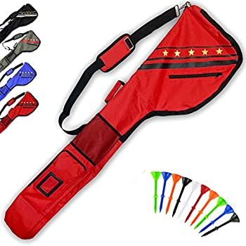FINGER TEN Golf Club Carry Bags Sunday Bag Thick Waterproof Lightweight Foldable with Free Plastic Tees Durable Clubs Travel Case Driving Range Practice Training Gift for Men Women Golfer  Red