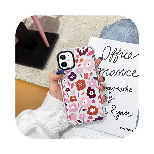 Rainbow Girls - Carcasa de TPU transparente para iPhone 11 Pro Max 12 Pro 7 8 Plus XS max xr x 90s Harajuku Label Funda de silicona para teléfono SE 2020-Flower-For 12 Mini