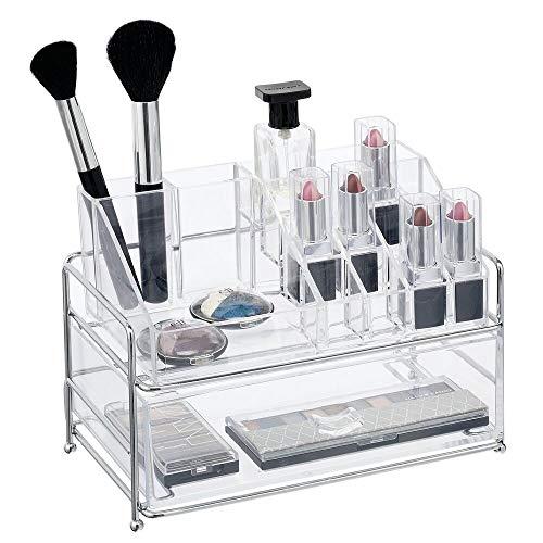 mDesign - Make-up organizer - cosmetica-organizer/make-up houder/opberger - met 16 compartimenten en lade - voor lippenstift/nagellak/oogschaduw/kwasten en meer - chroom/doorzichtig