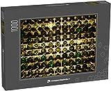 monpuzzlephoto Puzzle 1000 pièces De Nombreuses Bouteilles de vin en Verre sur des étagères à vin avec éclairage Intérieur du Restaurant Photo Couleur