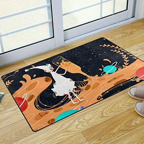 S Husky Entrance Door Mat Girl Hand Bottle Stand Galaxy Colorful Planet Magic Gorgeous Personality Duty Front Outdoor Rug, Non-Slip Lock Water Welcome Doormat for Entry, Patio 31 x 20 in 2041016