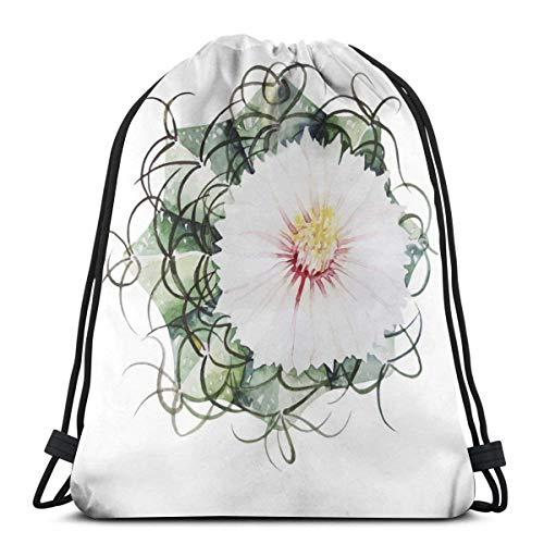 Lsjuee Mochila con cordón de Cactus con Flores de Acuarela Mochila de Viaje y Hombro Escolar Adecuada para Adultos y niños