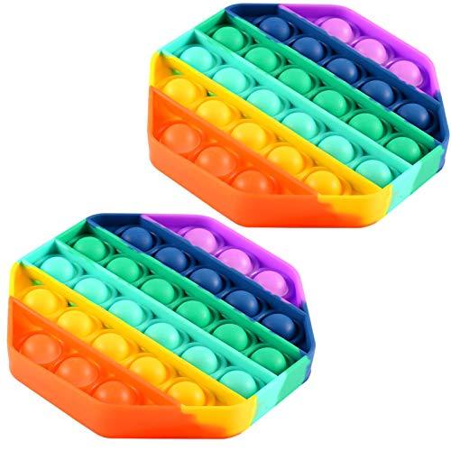 FOHYLOY Push Bubble Sensory Zappeln Spielzeug, Autismus Special Needs Stressabbau Spielzeug Silikon Quetschspielzeug, Anti-Angst-Tools für Kinder und Erwachsene (Octagon Colorful)
