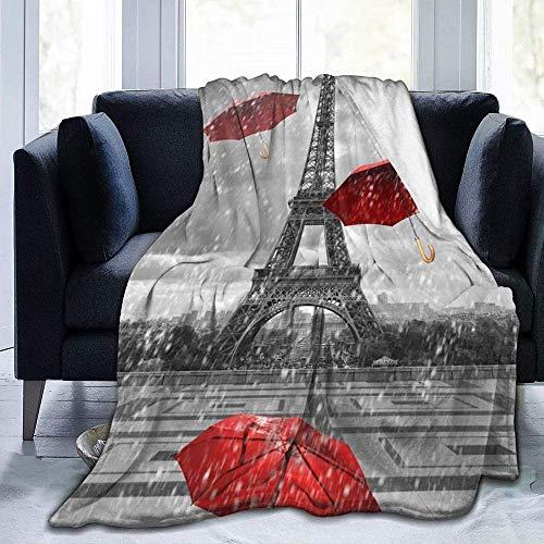 DWgatan Couverture,Couvre-lit de canapé Polyvalent Doux et Chaud de qualité Eiffel Tower with Red Umbrella Printed Blanket for Bedroom Living Room Couch Bed Sofa -60\