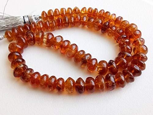 6.5 inch streng natuurlijke citrien 7.5-9 mm rondel gladde kralen voor sieraden - 6.5 inch citrien gewone rondel kralen, 7.5-9mm sprankelende honing oranje enorme citrien gewone rondelles, donkere citrien ketting, 34 st