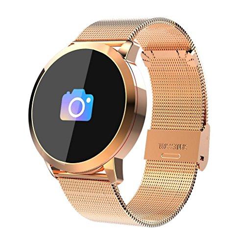 Premewish Fitness Smartwatch,Bluetooth Smart Watch Uhr mit Pulsmesser Wasserdicht IP67 Fitness Tracker Schrittzähler Schlafmonitor für Android und iOS (Golden)