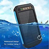 90000mAh Dual USB Waterproof Solar Charger Solar Power Bank 2019 (Blue, 2019 Model)