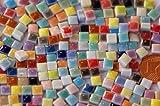 150 Stück Mini Mosaiksteine keramik bunt ca. 35 Farben a 5x5mm glänzend ca. 20g.