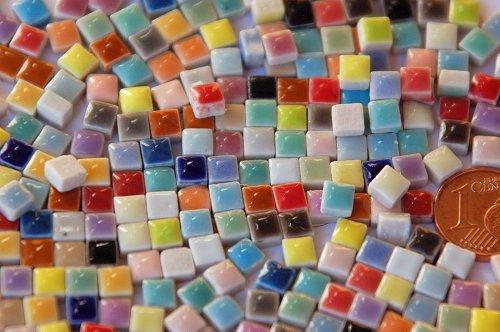 Bazare Masud e.K. 20g Mini Mosaiksteine Keramik bunt ca. 35 Farben a 5x5mm glänzend ca. 150 Stück