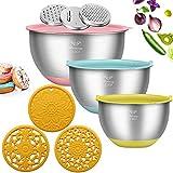 Pentole con 3 grattugie diverse,contenitori insalatiere in acciaio inossidabile rinforzato(kit da 3,1.5QT/2.5QT/5QT)per cucinare,infornare o conservare il cibo,con 3 tappetini in silicone inclusi