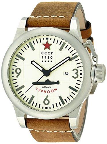 CCCP 7018-05 CP-Orologio da uomo, con cinturino in pelle marrone quadrante color crema, con finestra per la data