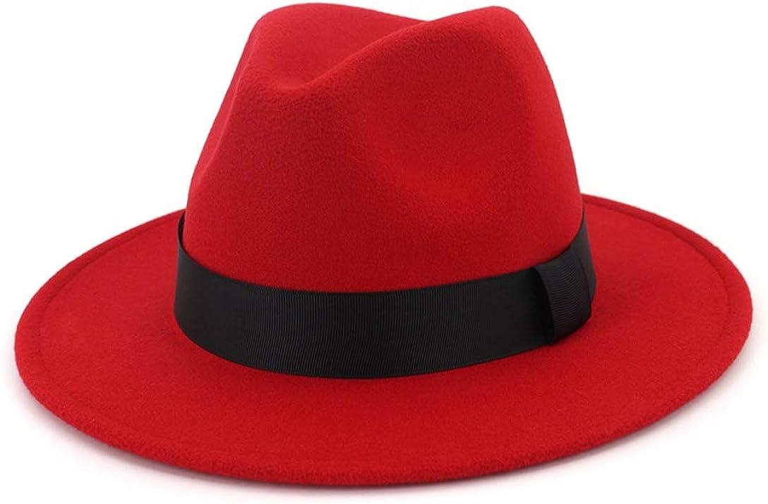 Men & Women Jazz Hat Vintage Wide Brim Fedora Hat with Wide Belt Fashion Panama Cap