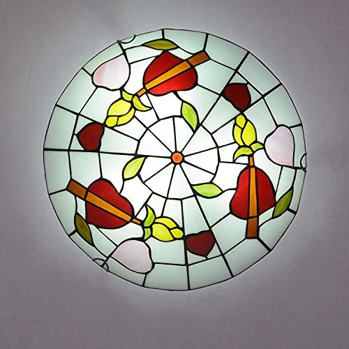 Lámpara de Techo Estilo Tiffany Retro, Plafón Techo LED para Dormitorio Sala de Estar Vintage E27 con Pantalla Redonda de Vitrales, Lámpara Colgante para Comedor, Cocina, Pasillo,E27,220V,50cm