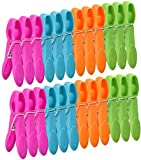 DORYUM 48 Pack Colorful Plastic Clothespins, Powerful Clothes Pegs, Windproof Laundry Pegs, Socks Clips Clothes Pins Clips Grip Clothes Pegs, Clothing Clamps for Towels Socks Underwears Clothes