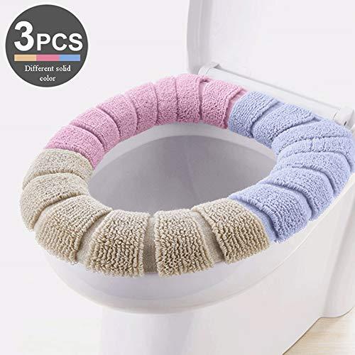 LmakDU WC-bril, zacht, van polyestervezel, verwarmend, rekbaar, 3-delig (blauw, roze, beige) Three Different Colors