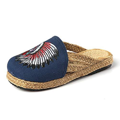 WXDP Pantuflas Calientes,para Mujer, para Mujer con Soporte de Arco, Zapatos con Flores Bordadas de Estilo étnico de Pekín Antiguo, Sandalias Planas, Zapatillas de Lona para el hogar, Interior, e