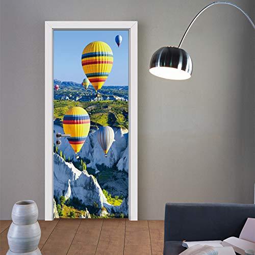 Deurbehang zelfklevend deurposter 3D effect foto behang heteluchtballon idee deur poster slaapkamer keuken woonkamer afneembaar waterdicht behang 95x215cm
