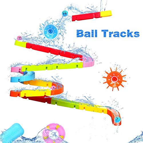 Fajiabao Kids Bath Toys Fun DIY Slide Indoor Waterfall Track Stick to Wall with Suction Cup and Wheels Water Ball Shower Floating Bathtub Toy Summer Children Favor Intelligence Gifts for Boys Girls