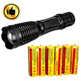 Best 18650 Batteries - Ultra-bright 18650 flashlight with 6PCS 3.7V 5000mAh Rechargeable Review
