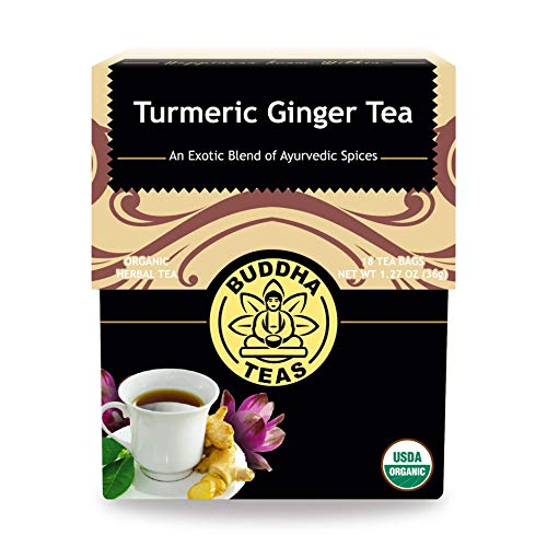 Buddha Teas Organic Turmeric Ginger Tea, 18 Bleach Tea Bags – Caffeine Free, Antioxidant, Antiviral, and Anti-Inflammatory, Immune Boosting Tea. Supports Digestion, No GMOs