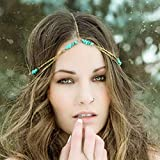 Fstrend Boho Layered Head Chain Shiny Turquoise Headband Fashion Festival Hair Jewelry Party Christmas for Women and Girls(Gold)