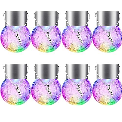 8PCS de iluminación de globo de cristal colgante luces solares decorativas de bola de vidrio agrietado globo iluminación crackle linternas decorativas de jardín lámpara para patio, árbol (colorido)