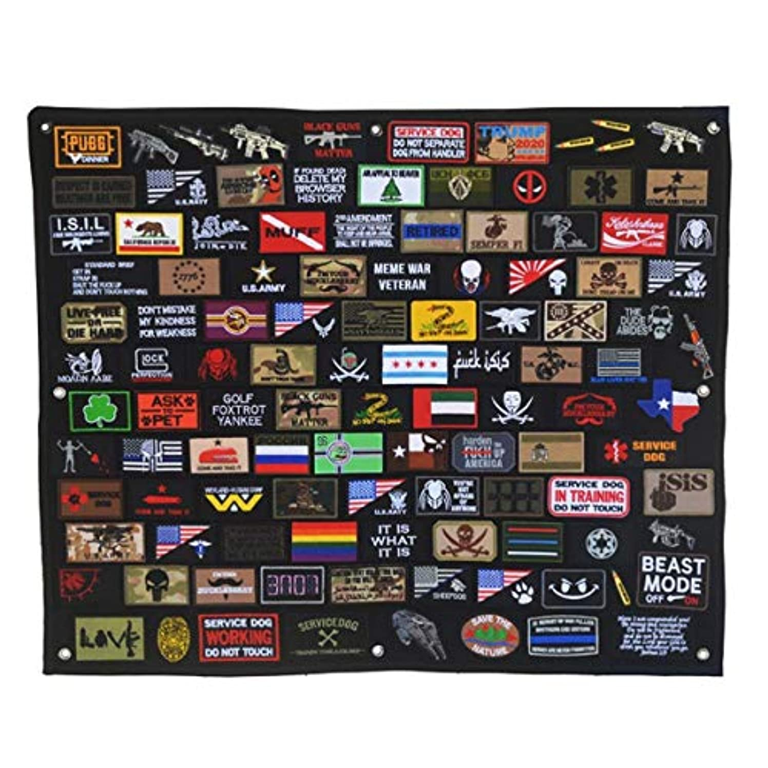 HotVinds Tactical Military Combat Morale Patch Holder Black Display Board 43.3