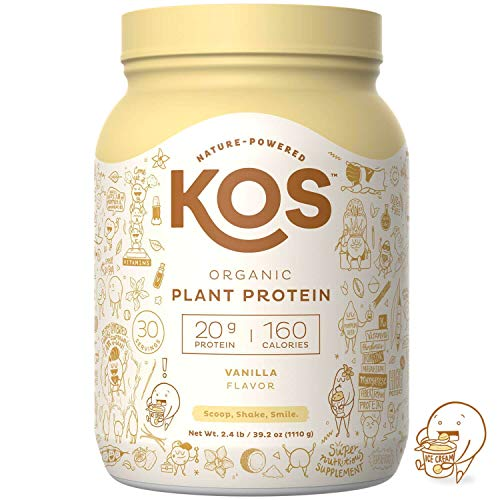 KOS Organic Plant Based Protein Powder – Raw Organic Vegan Protein Blend, 2LB 7.1 oz, 30 Servings (Vanilla)