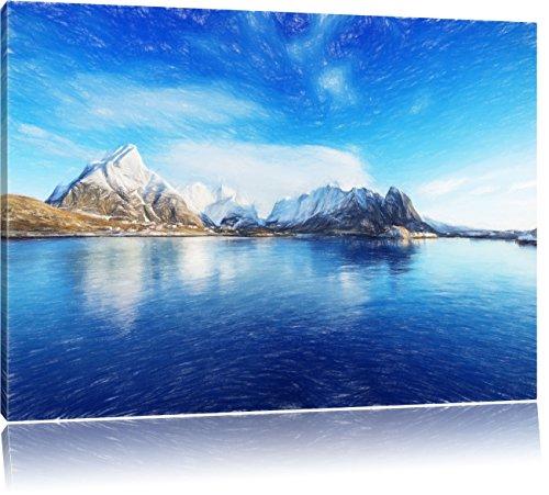 Pixxprint Lofoten in Norwegen als Leinwandbild | Größe: 80x60 | Wandbild| Kunstdruck | fertig bespannt