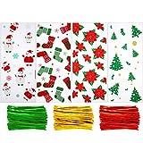 100 Pièces Sachets de Noël en Cellophane Sachets de Bonbons Friandises Cadeaux avec 150 Pièces Cravates Torsadées pour Fournitures de Fête de Noël (Style 5)