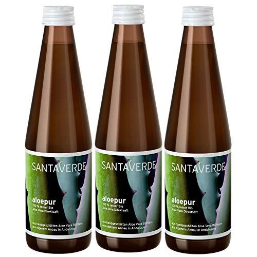 SantaVerde Bio Aloepur - 100 % Reiner Aloe Vera Direktsaft, 3 x 330ml