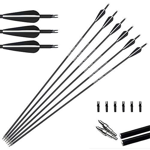 Tongtu Outdoor 6pcs 31inch Pure Archery Carbon Arrows Hunting Arrows 350 Spine mit ersetzen Pfeilspitzen für Compound High Strength Recurve Bow 30-70lbs