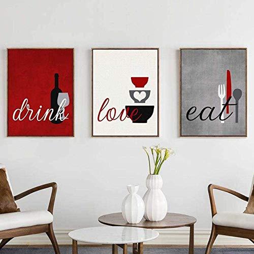 Cuadro nórdico para pared de cocina, lienzo para vajilla con impresión moderna, minimalista, 3 piezas, para comedor, decoración del hogar, 40,6 x 60,9 x 3 piezas, sin marco