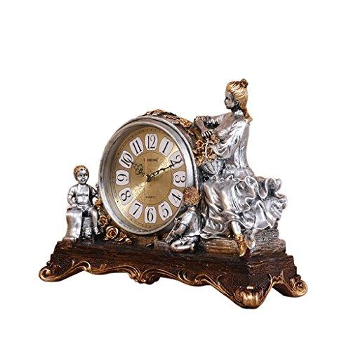 SESO UK- Europäische Retro Quartz Uhr Resin Wohnzimmer Schreibtisch Regal Stand Uhren (Farbe : Silber)