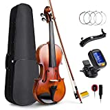 Vangoa 4/4 Violine Geige Akustische für Anfänger, Erwachsene und Kinder mit Violinenkoffer, Schulterstütze, Kolophonium und Violinsaiten
