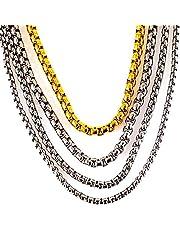 AKIEE Collar de Hombre de Acero Inoxidable Cadena Veneciana de Eslabones Cuadrados 2,5mm/3mm/3,5mm/4mm/5mm/6mm Ancho Plateado Dorado Negro