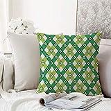 Kissenhülle Super Weich Home Decoration,Blumen-, gestreiftes Retro-Blumenmotiv mit Cross Line...