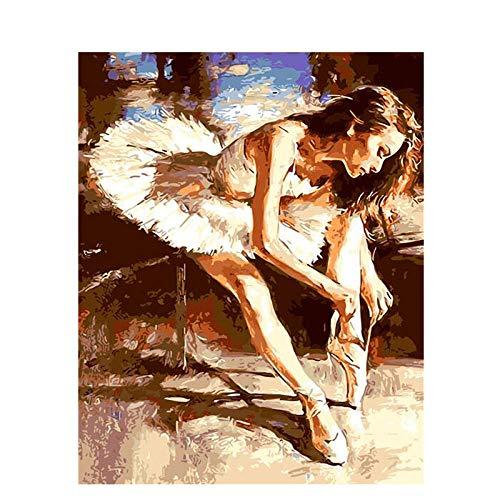 zyqcam Pintura al óleo acrílica de Bricolaje para Bailarina de Ballet Atar Cordones de los Zapatos Dibujar por número con Pinceles y Pinturas-40x50cm (Sin Marco