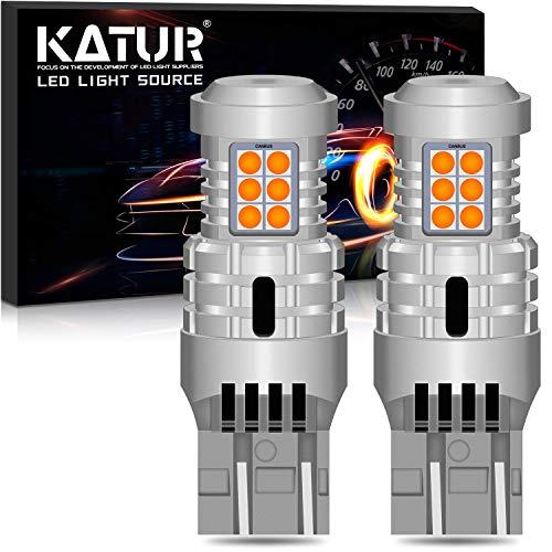 KATUR 7443 T20 992 W21/5W Bombillas LED Superbrillantes 12pcs 3030 y 8pcs 3020 Chips Canbus Error Señal de Giro Libre Freno Trasero Cola de estacionamiento Luces,�mbar Amarillo(Paquete de 2)